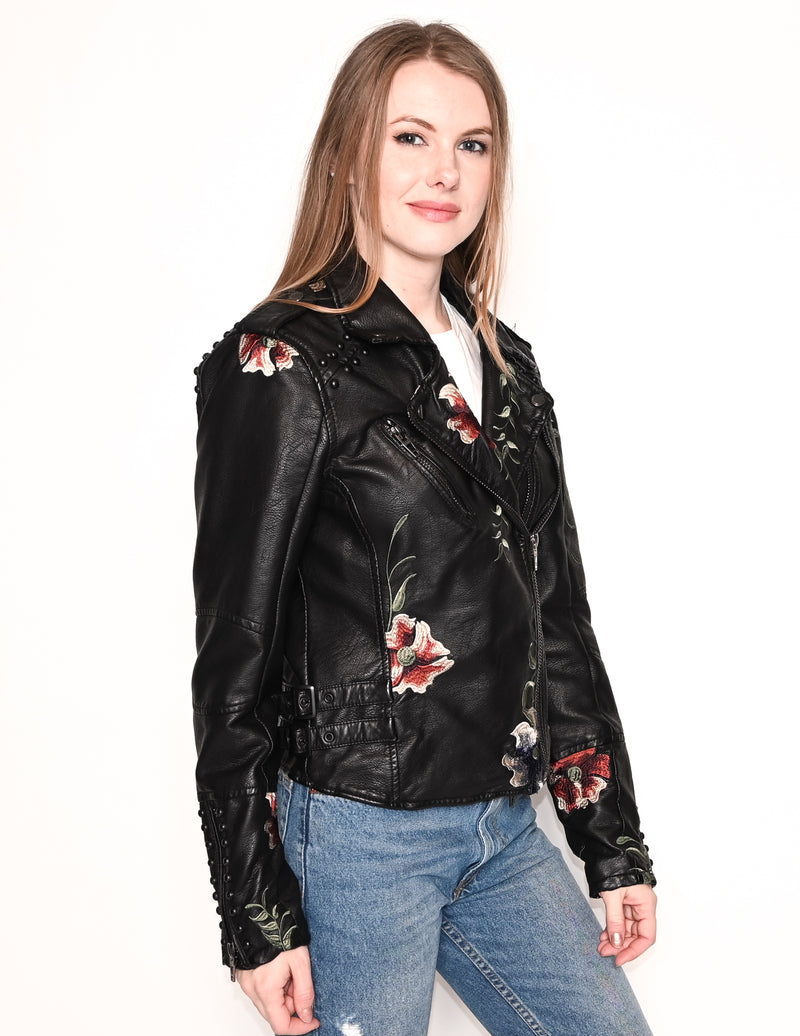 BLANK NYC Floral Embroidered Faux Leather Jacket
