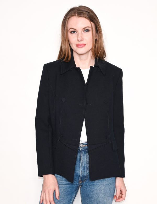 REISS Garner Double-Breasted Navy Blue Jacket