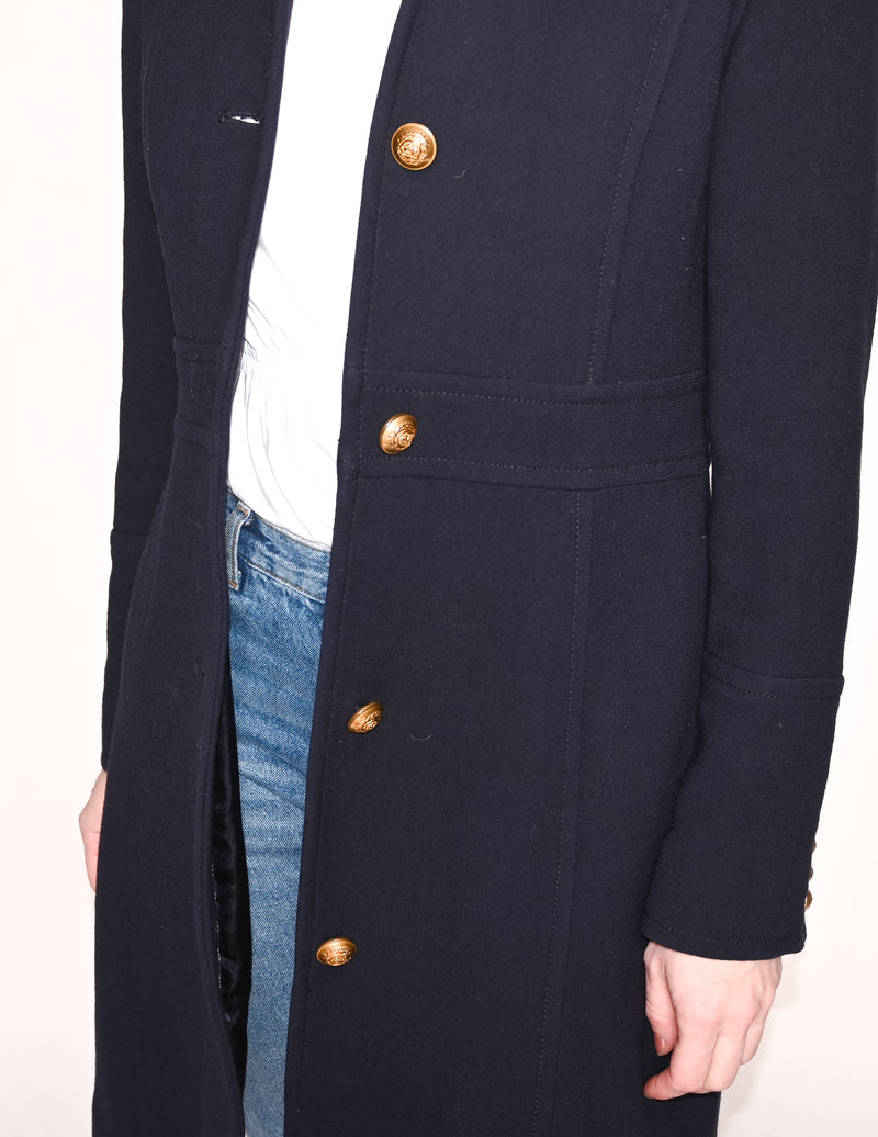 J. CREW Double-Cloth Navy Fitted Classic Day Coat