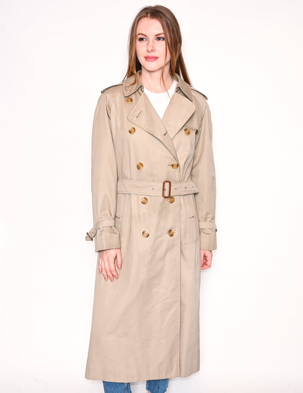 BURBERRY Vintage Tan Double-Breasted Trench Coat