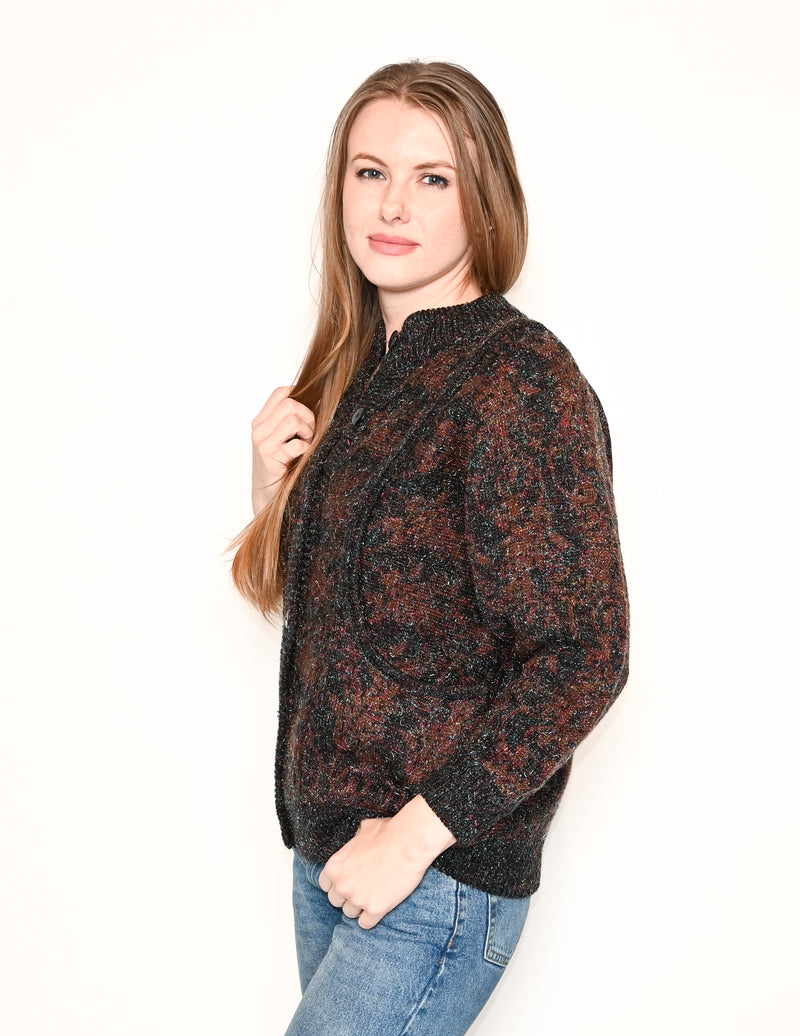 VINTAGE Dolman Sleeve Metallic Knit Cardigan