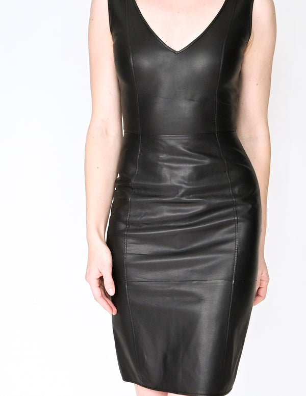 EMPORIO ARMANI Black Leather Sheath Mini Dress (Size 2)