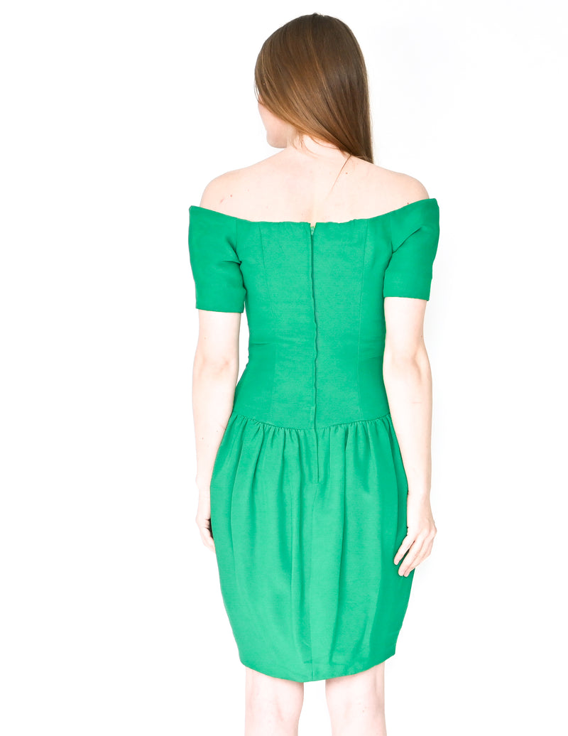 NICOLE MILLER Vintage Green Off-Shoulder Dress (Size 4)