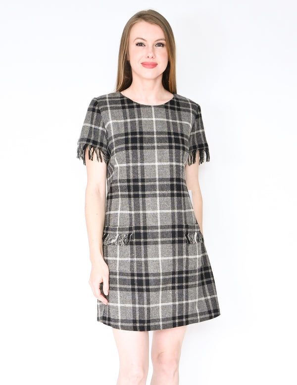 AMANDA UPRICHARD Plaid Wool Blend Fringe Dress NWT (Size M)
