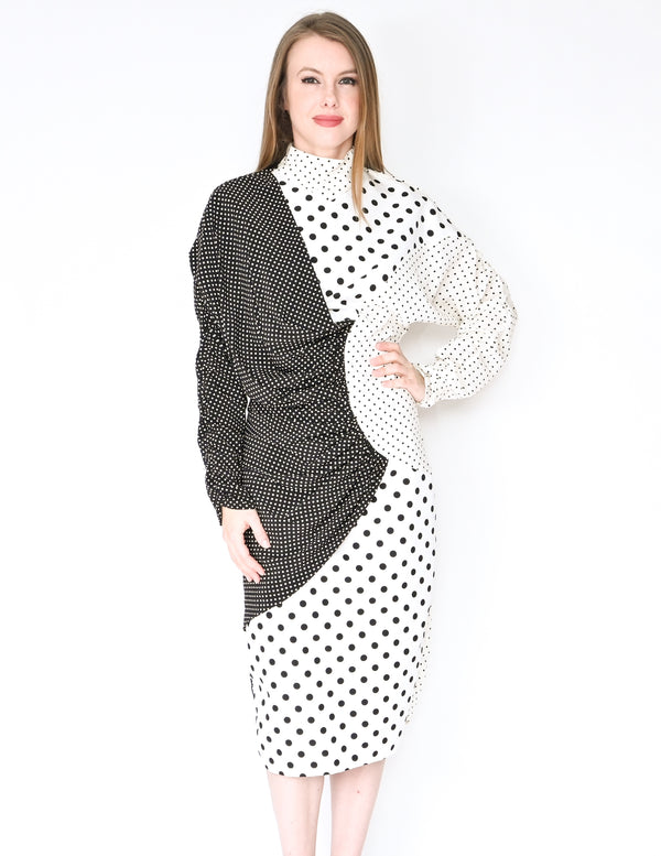 RODARTE Spring 2020 Mixed Polka Dot Print Dress (Size S)