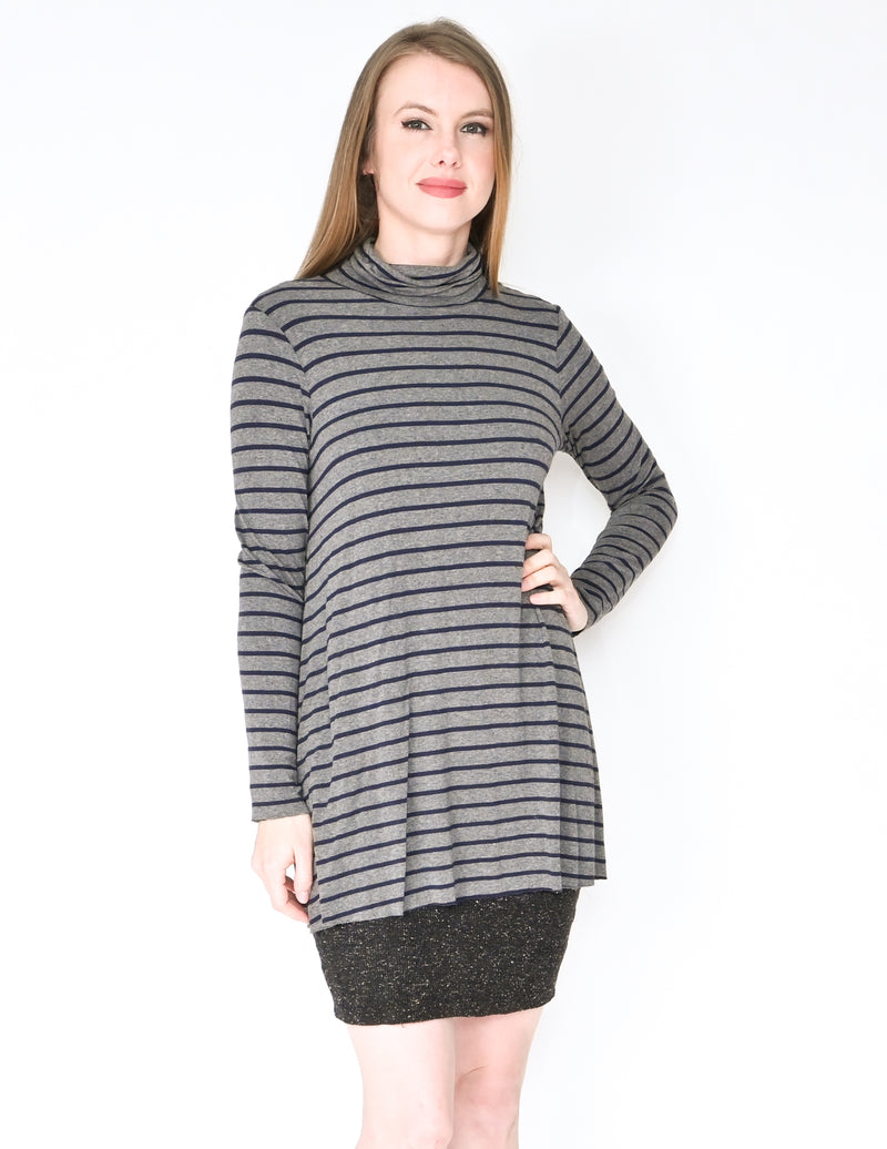 BAILEY 44 Anthro Striped Layered Turtle-Neck Dress (Size M)