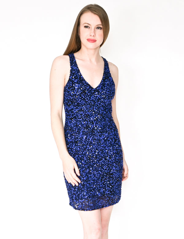 PARKER Haiti Blue Sequin Cut-Out Back Mini Dress (Size M)
