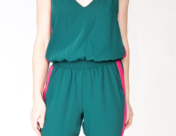 AMANDA UPRICHARD Sporty Side Stripe Green Jumpsuit (Size S)