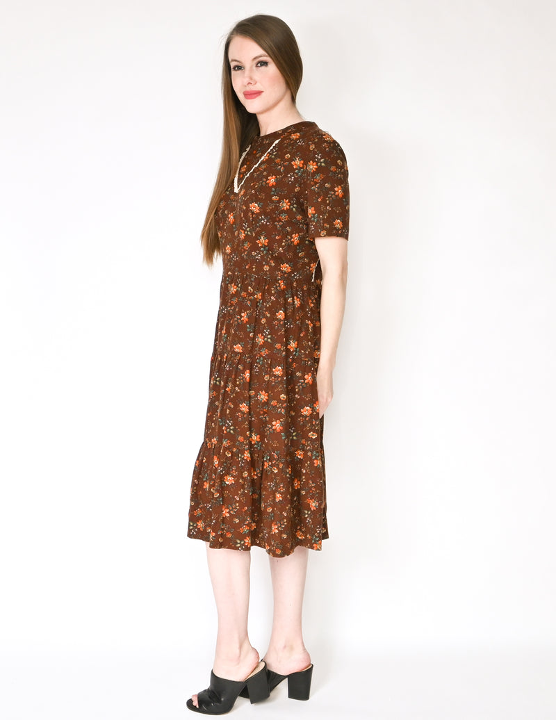 VINTAGE Brown Prairie Floral Midi Dress Cottage