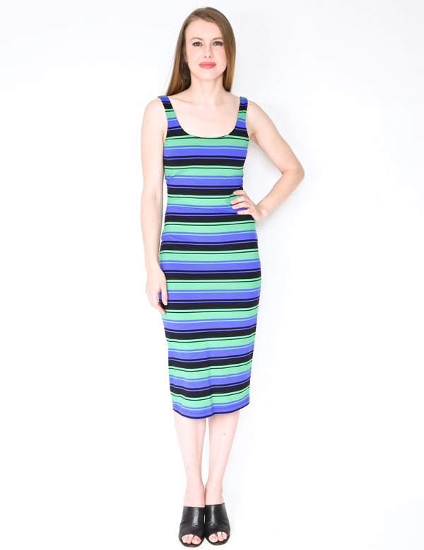 AMANDA UPRICHARD Green Blue Stripe Midi Dress (Size S)