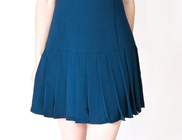 AMANDA UPRICHARD Blue Gavin Pleated Mini Dress NWT (Size S)