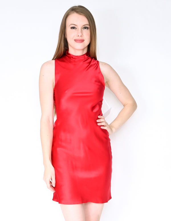 AMANDA UPRICHARD Red Silk Colter Mini Dress NWT (XS)