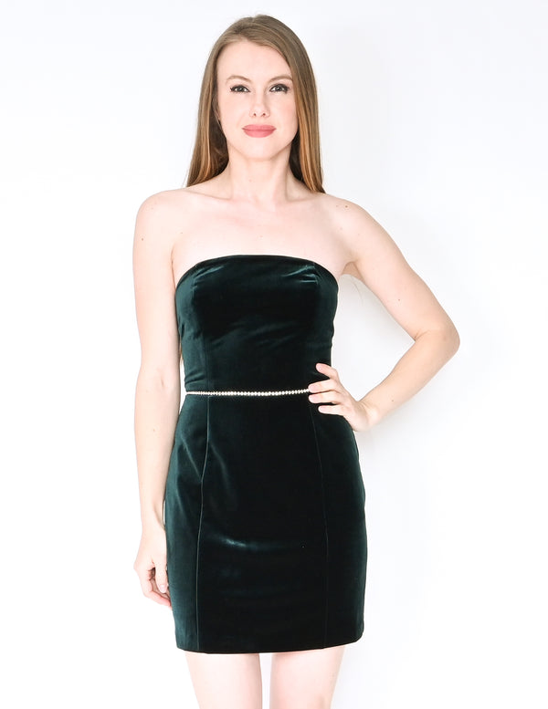 AMANDA UPRICHARD Green Velvet Strapless Mini Dress (XS)