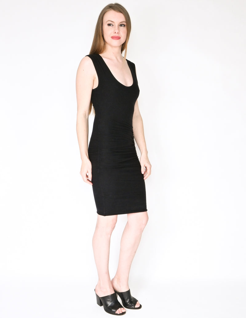 JAMES PERSE STANDARD Black Ruched Mini Dress (Size XS)
