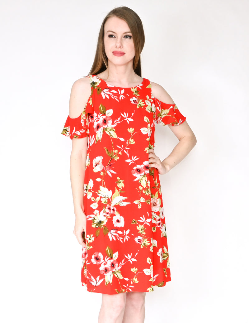 ELIZA J Red Floral Print Cold-Shoulder Dress (Size 6)
