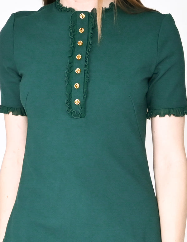 TORY BURCH Malachite Button Front Ruffle Dress NWT (Size S)