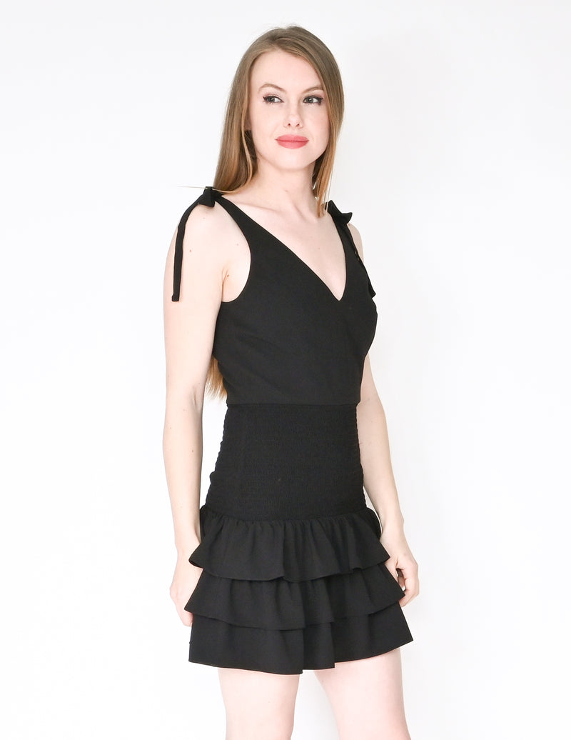 AMANDA UPRICHARD Black Zita Ruffle Mini Dress NWT (Size S)