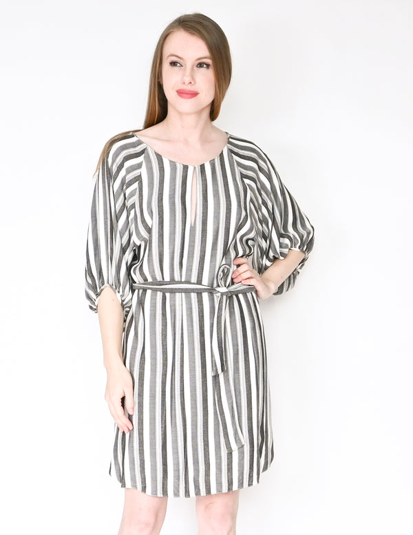 AMANDA UPRICHARD Striped Puff-Sleeve Belted Dress (Size S)