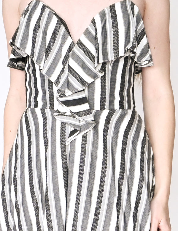 AMANDA UPRICHARD Striped Strapless Ruffle Dress (Size S)
