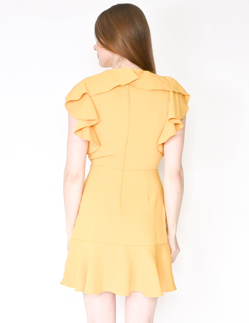 AMANDA UPRICHARD Emery Ruffle Yellow Mini Dress (Size S)