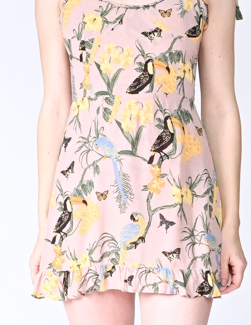 REFORMATION Christine Toucan Print Mini Dress (Size 8)