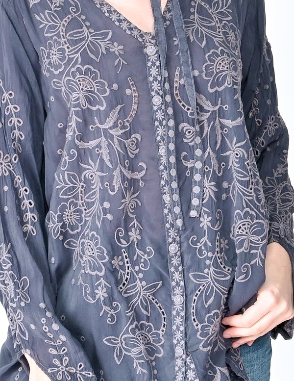 JOHNNY WAS Graphite MONROE Embroidered Blouse NWT (Size M)