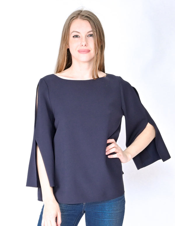 LAFAYETTE 148 Ink Blue Candace Blouse NWT (Size M)