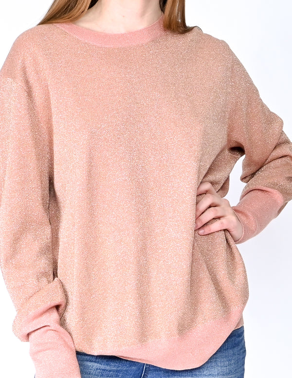 J. CREW Collection Pink Metallic Knit Pullover (Size L)