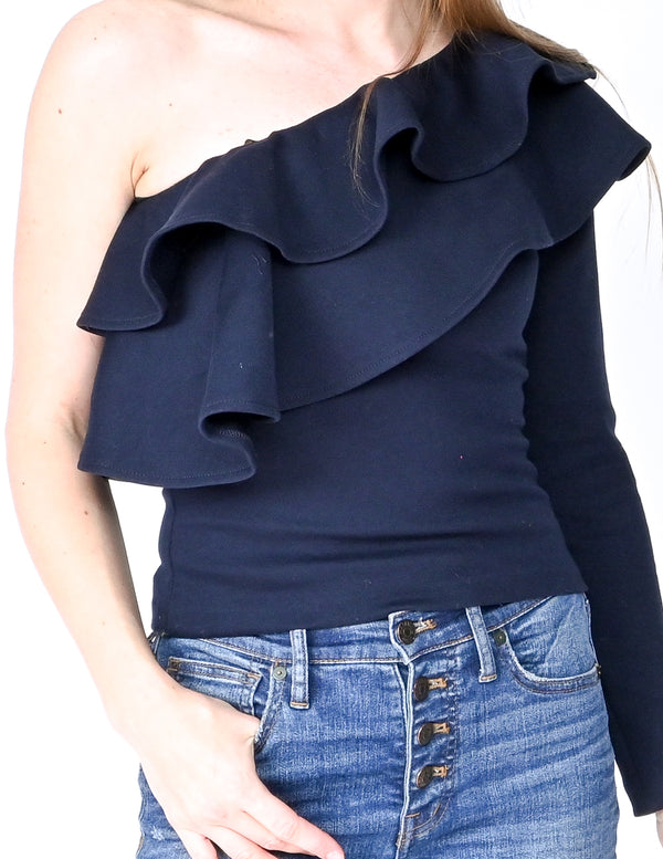 AMANDA UPRICHARD Navy Carlita One-Shoulder Top (Size S)