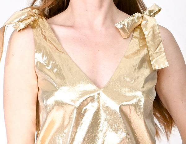 AMANDA UPRICHARD Josephina Gold Metallic Top (Size S)