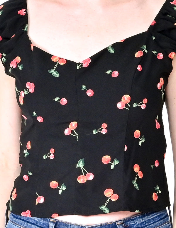EMORY PARK Cherry Print Black Smocked Back top (Size M)
