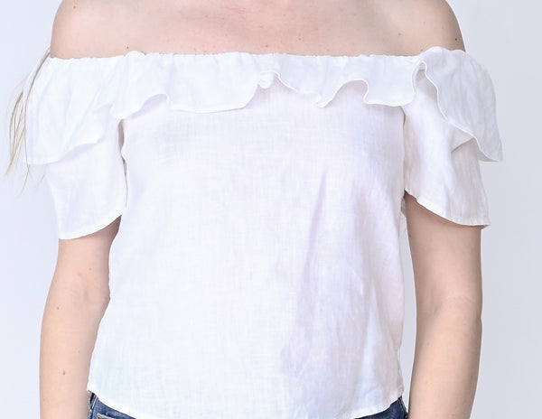 REFORMATION White Off-The Shoulder Ruffle Top (Size XS)