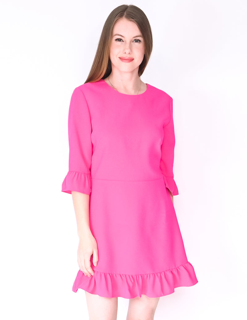 AMANDA UPRICHARD Pink Ruffle Candice Mini Dress (Size M)