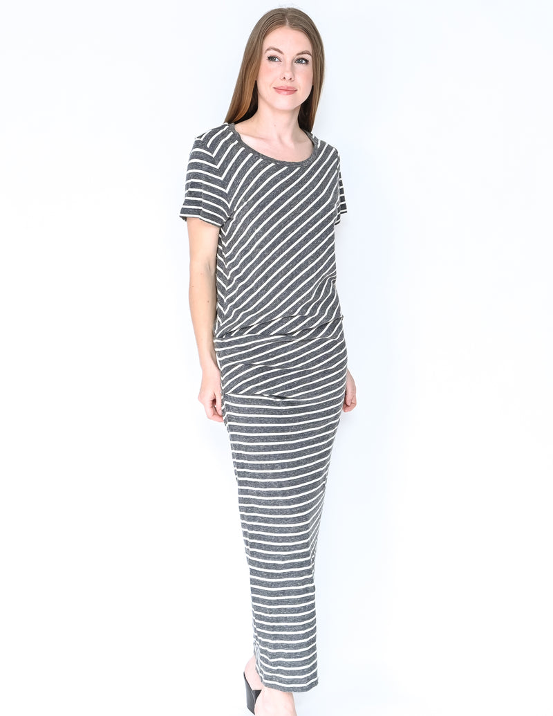 JAMES PERSE Grey Striped Short-Sleeve Maxi Dress NWT (Size 3)