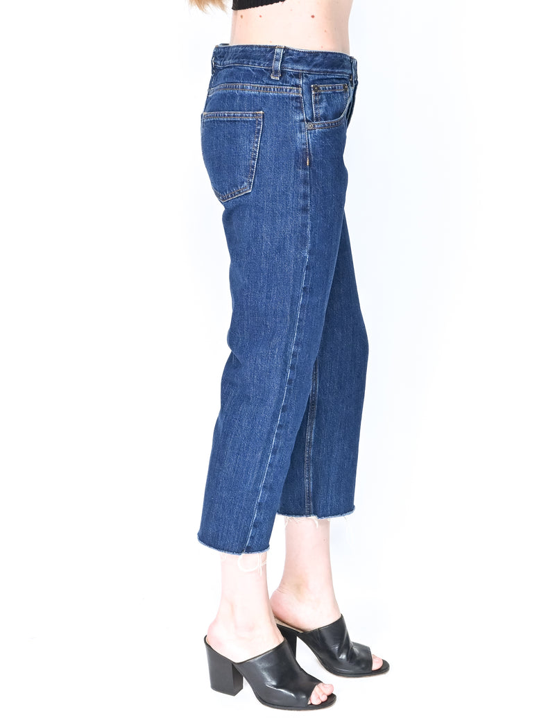 THE ROW High Waist Crop Straight Leg Jeans (Size S)
