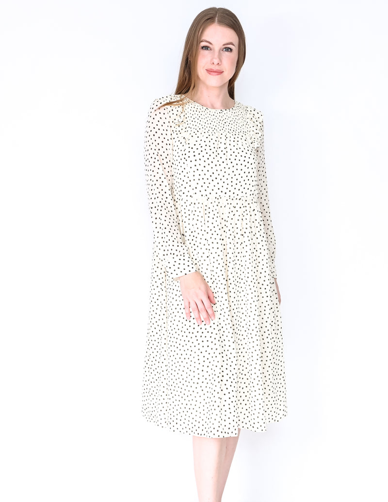 MADEWELL Smocked Ruffle Dot Print Midi Dress NWT (Size XS)