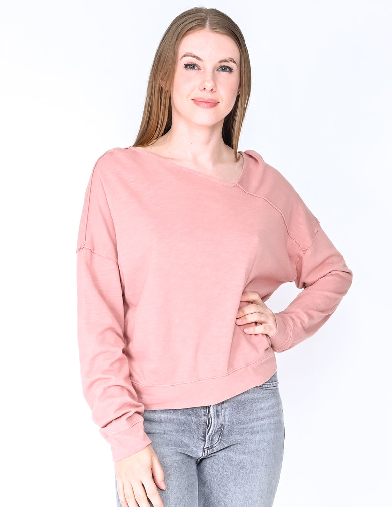 SPLENDID Pink Cotton Slub Asymmetrical Neck Tee (Size S)