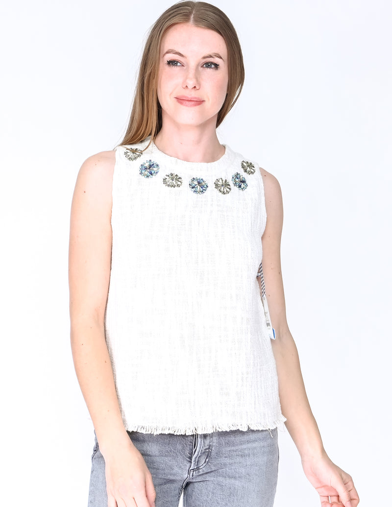DRAPER JAMES Hilton Embellished Tweed Top NWT (Size 6)