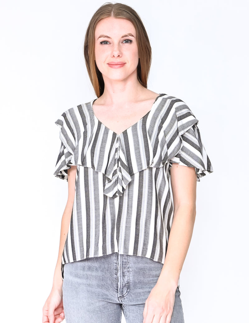 AMANDA UPRICHARD Striped Ruffle Larae Top (Size S)