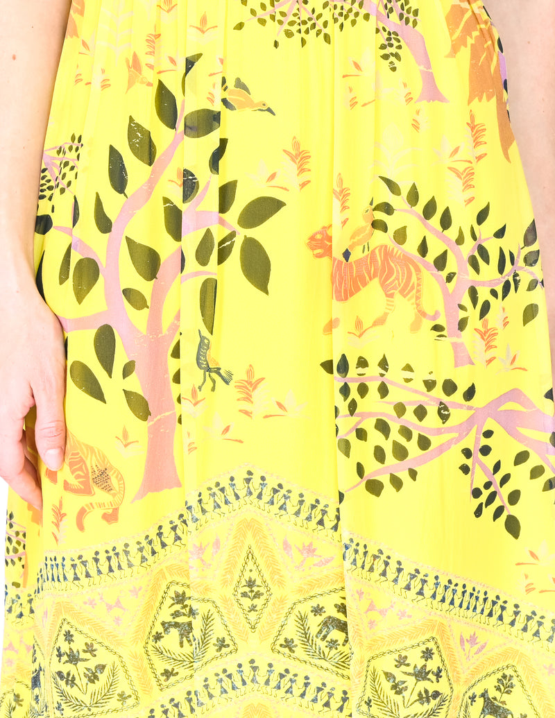 SALONI Yellow Pippa Jungle Print Silk Midi Dress (Size 2)