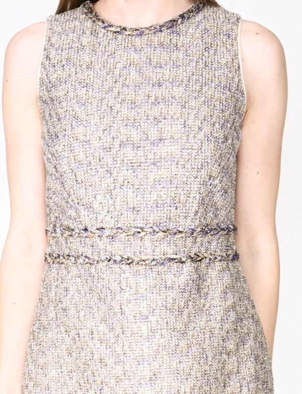 J. CREW Sleeveless Twinkle Tweed Sheath Dress (Size 2)