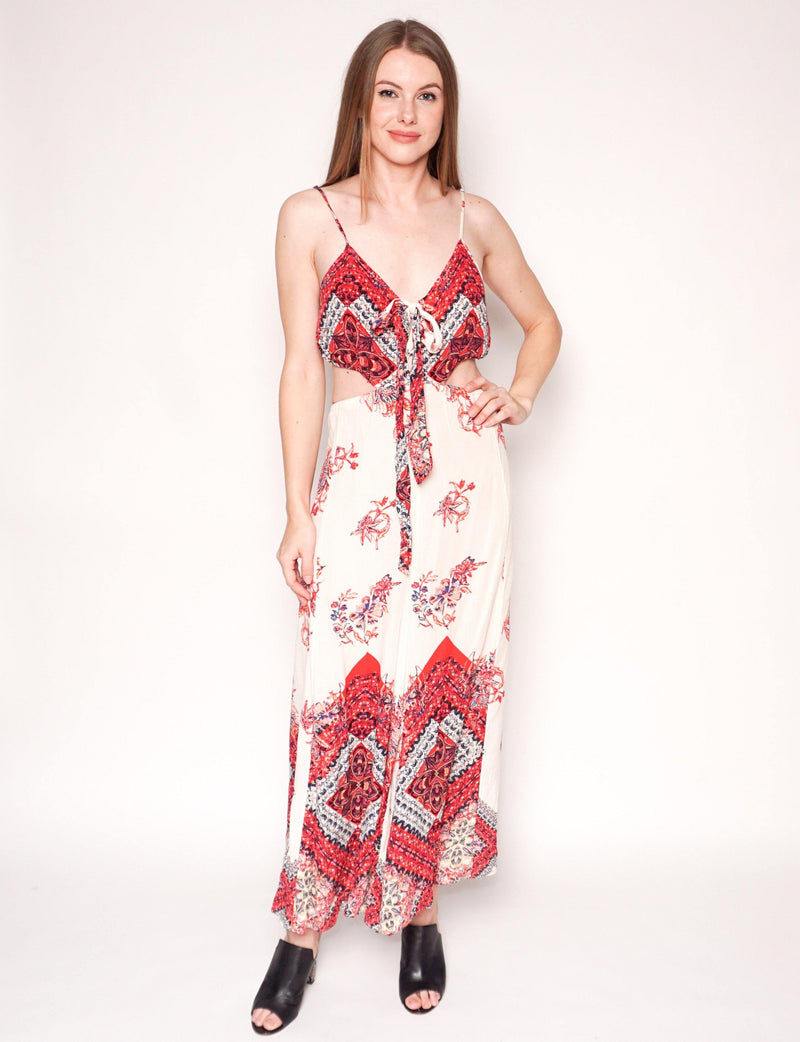 FREE PEOPLE Bella Floral Print Wide-Leg Cutout Jumpsuit - Fashion Without Trashin