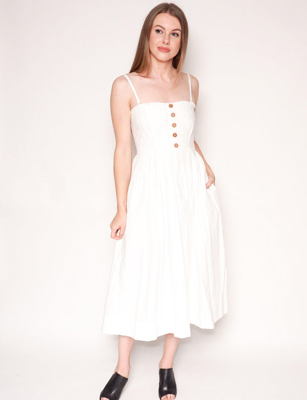 FREE PEOPLE White LILAH Cotton Pleated Tube Midi Dress - Fashion Without Trashin