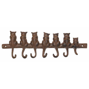Cat Hook - Cat Family - Seven Hooks - Antique Brown