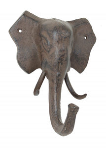 Large Elephant Wall Hook - Wall Decor - Antique Brown