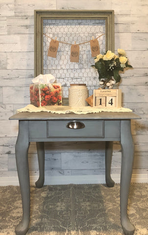 Cute Shabby Chic Gray Side Tables with Decorative Drawer