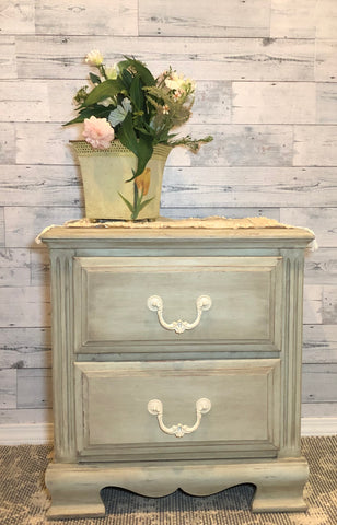 One-Of-A-Kind - Shabby Chic - Antique Green - Bedside Table