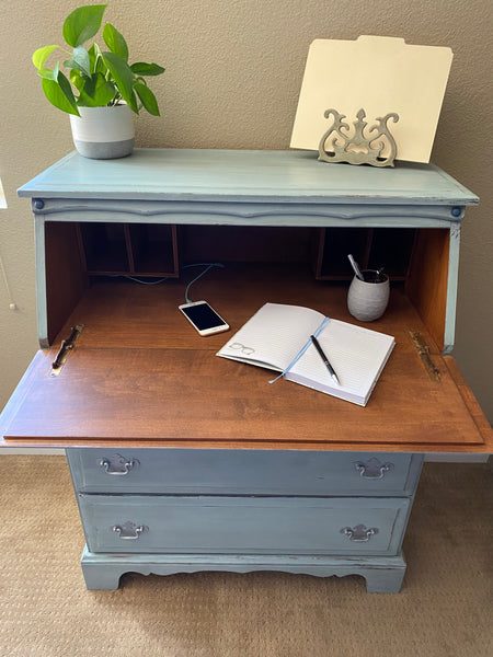Secretary Desk - Light Blue with Silver and Dark Blue Embellished Drawers
