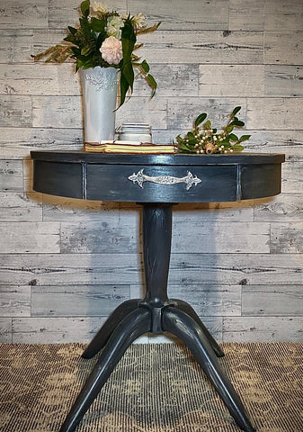 Refinished Dark Gray Round Table with Embellished Drawer