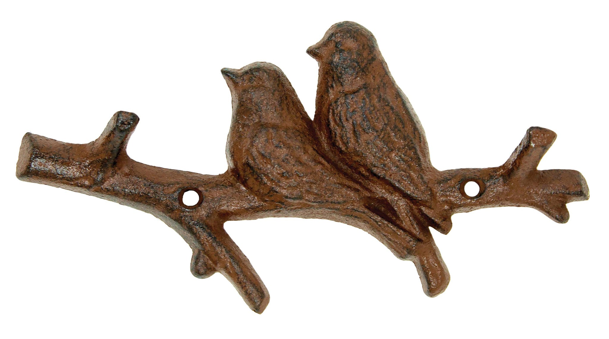 Love Birds on Tree Branch - Two Hooks - Antique Brown